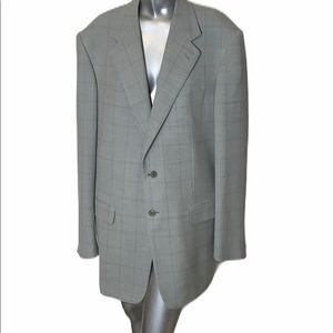 Pal Zileri Size 54 Long Blue and Grey Wool Suit